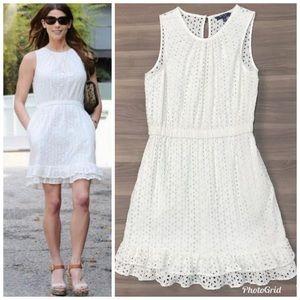 Peter Som Solid White Eyelet Dress